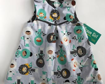 Girls Astronaut Pinafore | REVERSIBLE Girls Dress | Outer Space Theme Sizes NB - 6 Years