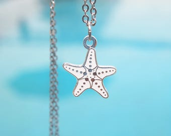 Mini White Starfish 99.9 Fine Silver Plated Necklace