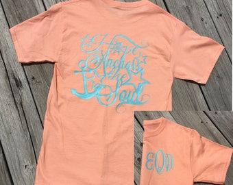 Monogram Hope as an Anchor Short Sleeve Shirt, Christian T Shirts, Christian Clothing, Christian Shirts, Jesus Shirt, Jesus T Shirt