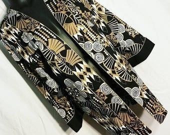 Vintage Tribal Print Gold Trim Kimono Style Duster Plus Size 1X