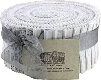 White Out Jelly Roll from Kanvas Benartex by the roll