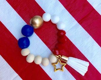 Gold Star Red White and Blue Charm Bracelet