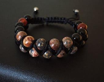 Leopard Skin Jasper Black Jasper Fire Agate Shamballa Bracelet Boho Gift Adjustable Healing Gemstone Bracelet