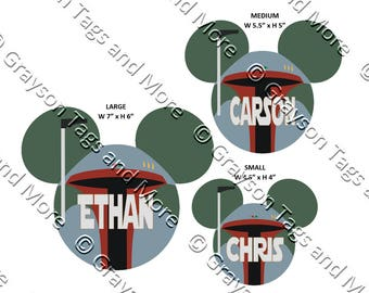 Star Wars Inspired Boba Fett Mouse Head Disney Cruise Door Magnet (3 sizes to choose from)