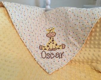 Giraffe Baby Blanket Giraffe Applique with Name, Personalized Baby Blanket, Giraffe Blanket, Embroidered Baby Blanket, Minky Baby Blanket