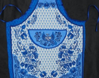 BLUE WILLOW, Kitchen Apron, Blue White ,Chinoiserie Decor, Gift for Her