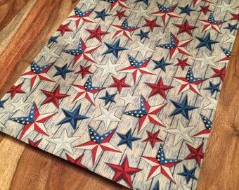 Stars on Barn Wood, American Flag Table Runner