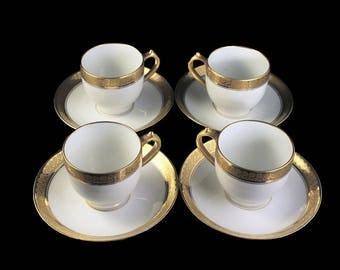 Antique Demitasse Cups and Saucers, CH Field Haviland, Limoges, GDA France, Set of 4, Gold Encrusted, Schleiger 405, Hard To Find China