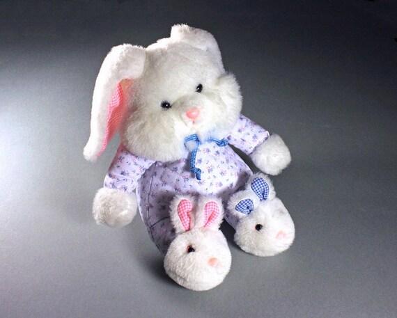 Plush Bunny, Stuffed Animal, World of Smile International, Pink, White, and Blue, Child's Gift Idea,  Baby Shower, Nursery Decor
