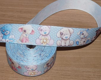 Ribbon grosgrain white with elephants.
