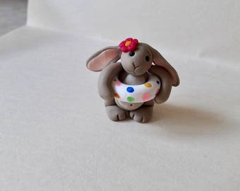 Little lop ear grey bunny rabbit figure sculpture 'going swimmimg' polymer clay handmade cute