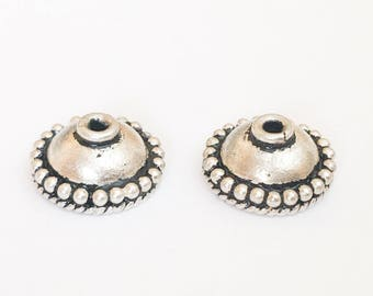2 Bali Sterling Silver Bead Caps, 11x5mm