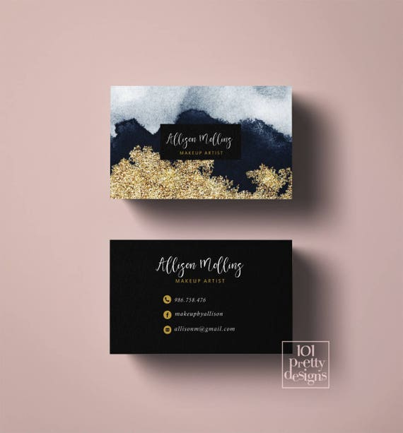Gold glitter business card design printable business card gold navy il570xn colourmoves