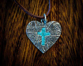Silver and turquoise heart and Cross pendant