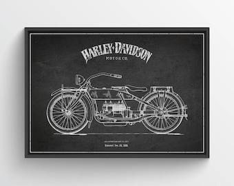 1919 Harley Davidson Patent Wall Art Poster, Harley Davidson Poster, Harley Davidson Print, Home Decor, Gift Idea, TRBM01P