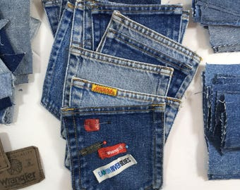 Vintage Denim Scrap Lot Blue Jeans Pieces Pockets Labels 2 1/2 Pounds Dozens of Pre Cut and Faded Wrangler Levi Jordache