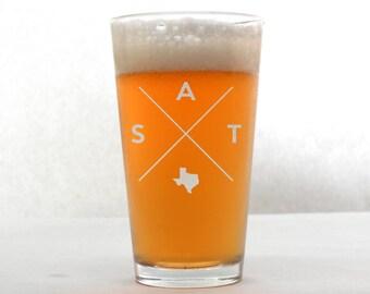 San Antonio Glass   San Antonio Pint Glass - Beer Glass - Pint Glass - Beer Glasses - Pint Glasses - Beer Mug - San Antonio Texas