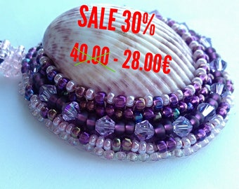 SALE Pendant purple from shells, beads and Swarovski crystals