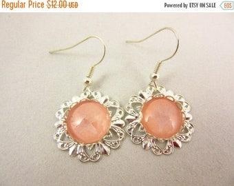 ON SALE Peach Earrings - Silver Earrings - Dangle Earrings - Handmade Earrings - Beach Jewelry - Resort Jewelry - Large Earrings - Starfish