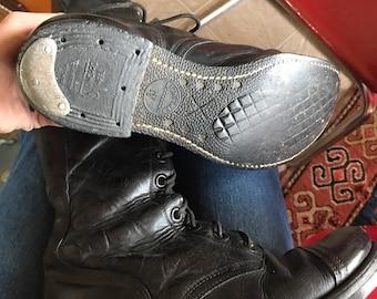 1951 International Shoe Co Black Combat Boots - Size 7D - WWII WW2 World War 2