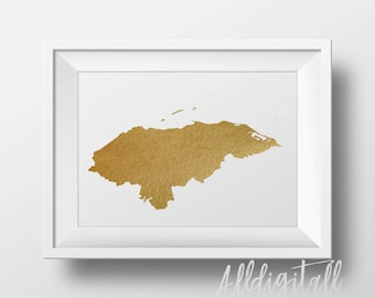Gold foil Honduras map printable map, wall art Honduras map print country map poster printable Honduras art central america digital wall art