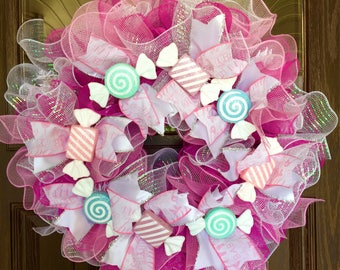 Large Handmade Baby Girl Gift Wreath With Ruffles & Candy on Etsy | Pink and White White Wreath | Wreaths on Etsy | Etsy Wreaths