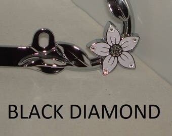 Black and White Diamond Clear Flower Swarovski Crystal Elements 2088 Xirius rhinestone Bling Car silver Chrome Metal License Plate Frame