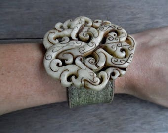Ivory Brown Olive Green Chinese Jade Dragon Pendant Statement Upcycled Leather Cuff Bracelet