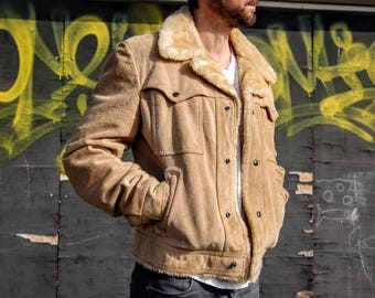 JACKET coat returned skin fake sheep 70's vintage, Campus Rugged Country / Groovy 70s Suede Guys Coat w jackey Plush Lining 38 S M