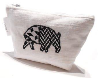 White Makeup Bag, Tapir Pencil Case, Tapir Cosmetic Bag, Black Tapir, White Cosmetic Bag