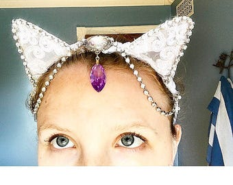 White Lace Princess Kitty Ears with Rhinestone Embilishments