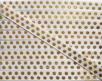 """5 Yards 3/8"""" White And Gold Dots Grosgrain Ribbon - Gold Polka Dot Ribbon"""