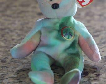 Vintage 1996 Peace Bear Beanie Baby
