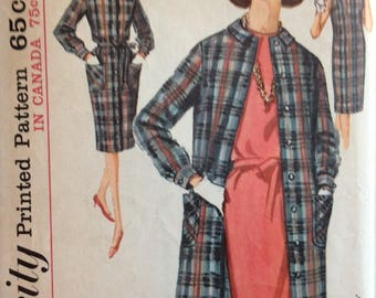 Simplicity 5307 misses dress and coat size 14 bust 34 vintage 1960's sewing pattern