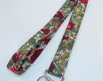 Teacher Lanyard Fabric Lanyard Stocking Stuffer Gift Lanyard Flower Lanyard Floral Lanyard ID Badge Holder Key Holder