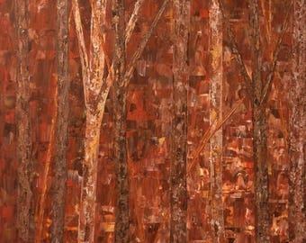 Independence Sale Birch Tree Painting, Tree Painting, Wall art, Birch, Aspen Tree, Birch Tree, Extra Large Wall Art, Large Wall Art, Red Gol