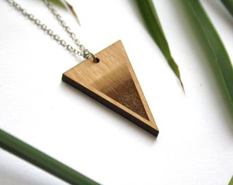 Triangle pendant, Wooden necklace, design geometric, modern minimalist, woman jewel, silver color chain, art deco style, made in France
