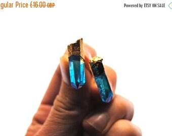 ON SALE Aura Quartz Earrings, Aqua Quartz stud earrings, Blue Aqua Quartz Jewelry, Quartz Point Earrings, Boho Jewellery