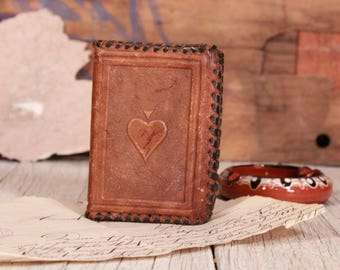 Leather card case, Playing card case, Genuine leather case, Playing card holder, Cards travel case, Business card holder,  Brown card case