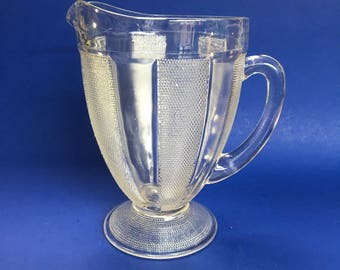 Large Vintage Clear Glass Jeanette Footed Pitcher