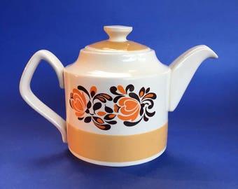 3 Cup Vintage Retro '70s Sadler Teapot England pottery stoneware