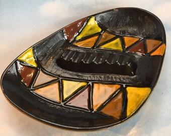 "11"" Large Mid Century Vintage Italian Art Pottery Incised Ashtray Italy"