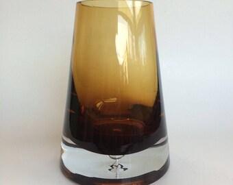 Heavy Glass Vase in Golden Amber Hues
