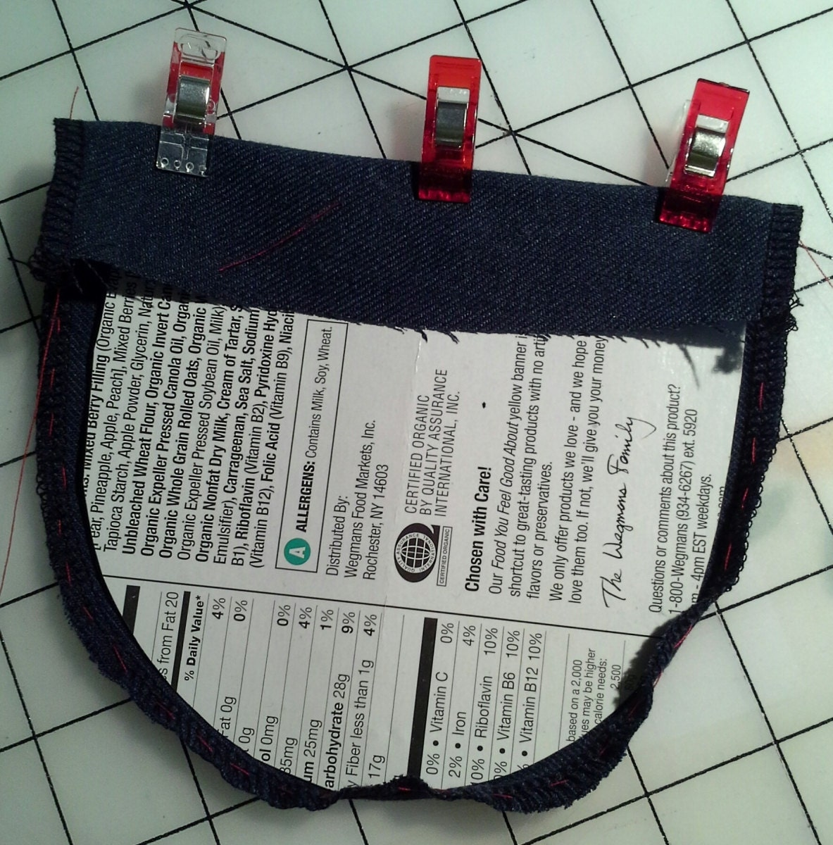 place the cardboard pattern in the center of the pocket fabric