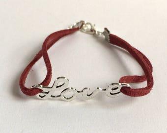 Love bracelet in red suede