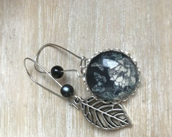 earring cabochon 20mm asymmetrical nature black leaves and flowers