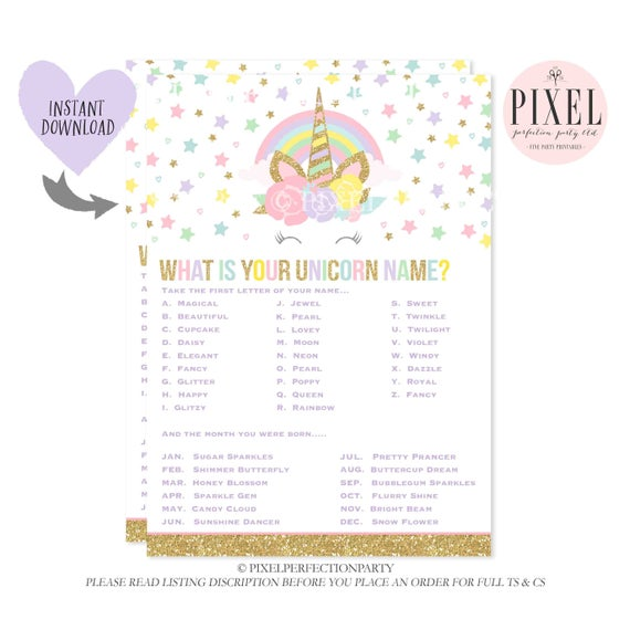 What Is Your Unicorn Name Game Unicorn Party Game Unicorn