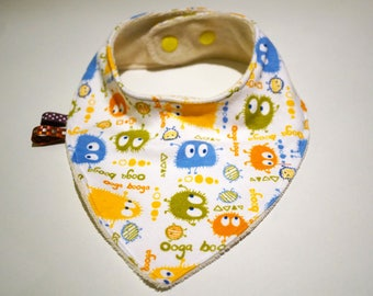 Pattern baby bib Bandana Cowboy Ooga Booga cotton jersey and micro Terry organic cotton