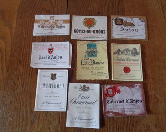 100 Vintage Un-used French Wine Labels, 9 different labels.