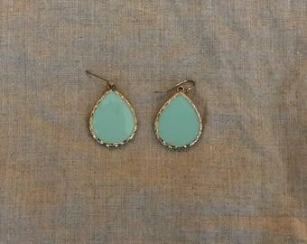 Mint green drop earrings